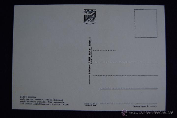 Postales: POSTAL DE MERIDA (BADAJOZ). ANFITEATRO ROMANO. VISTA GENERAL. EDICIONES ARRIBAS. AÑOS 60 - Foto 2 - 49863358