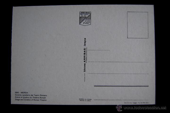 Postales: POSTAL DE MERIDA (BADAJOZ). ESCENA Y GRADERIO DEL TEATRO ROMANO. EDICIONES ARRIBAS. AÑOS 60 - Foto 2 - 49863383