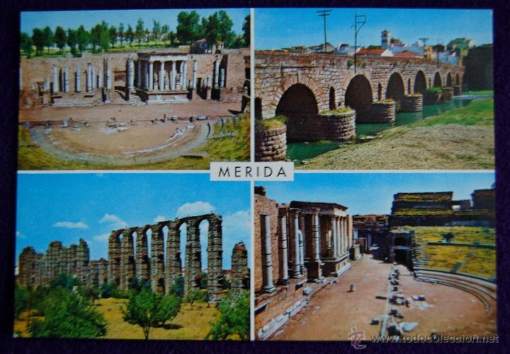 POSTAL DE MERIDA (BADAJOZ). MONUMENTOS ROMANOS. EDIC. GARCIA GARRABELLA. AÑOS 60 (Postales - España - Extremadura Moderna (desde 1940))