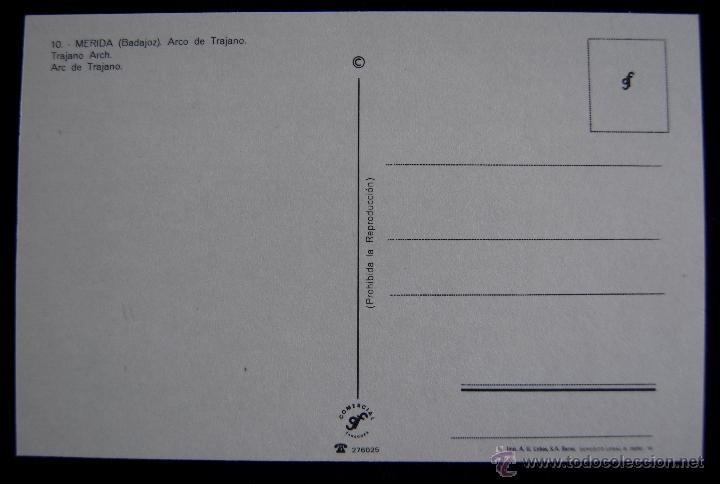 Postales: POSTAL DE MERIDA (BADAJOZ). ARCO DE TRAJANO. COMERCIAL GF. AÑOS 60 - Foto 2 - 49863490