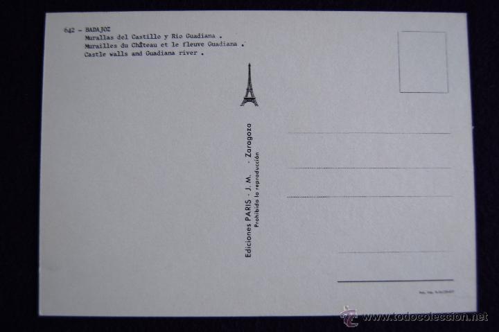 Postales: POSTAL DE BADAJOS. MURALLAS DEL CASTILLO Y RIO GUADIANA. EDICIONES PARIS. AÑOS 60. - Foto 2 - 49863527