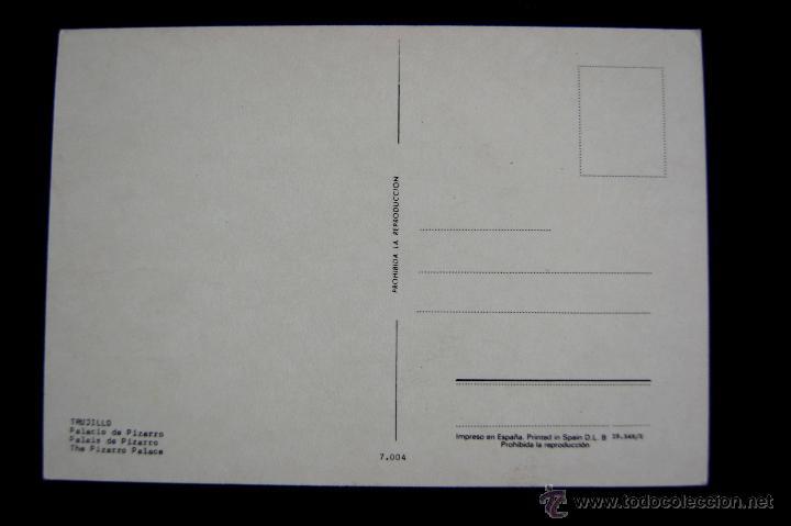 Postales: POSTAL DE TRUJILLO (CACERES). PALACIO DE PIZARRO. AÑOS 60 - Foto 2 - 49863634