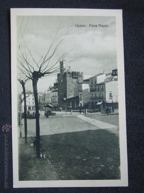 POSTAL CÁCERES. PLAZA MAYOR. EDICIÓN EULOGIO BLASCO. HELIOTIPIA ARTÍSTICA IBÉRICA, TORRIJOS. (Postales - España - Extremadura Antigua (hasta 1939))
