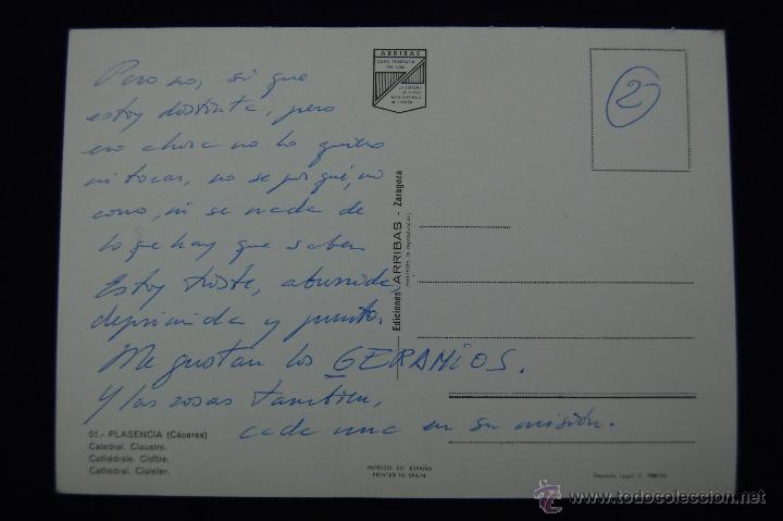 Postales: POSTAL DE PLASENCIA (CACERES). CATEDRAL. CLAUSTRO. AÑOS 60. - Foto 2 - 51378397