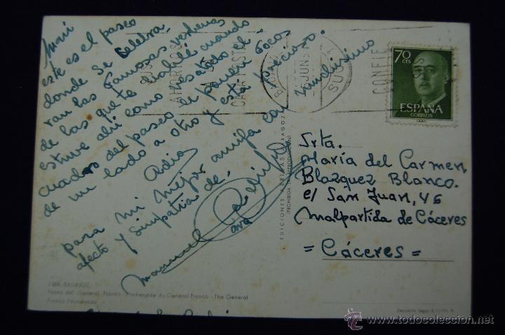 Postales: POSTAL DE BADAJOZ. PASEO GENERAL FRANCO. AÑOS 60. - Foto 2 - 51378630