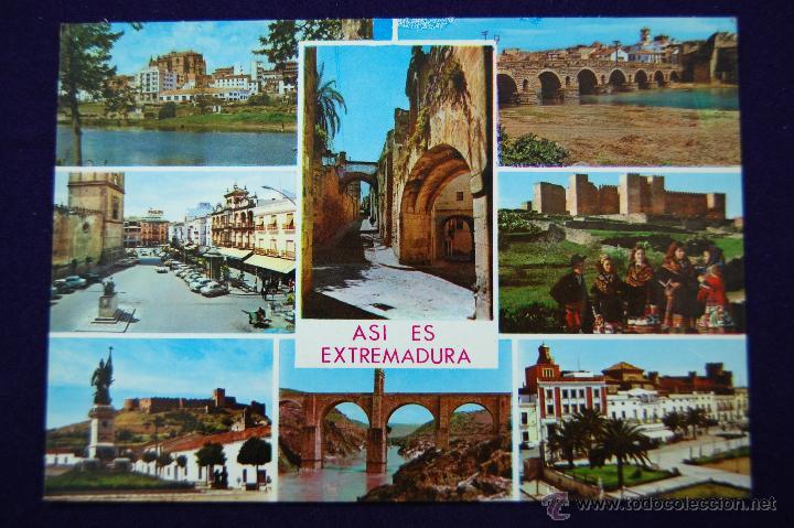 POSTAL DE EXTREMADURA (CACERES Y BADAJOZ). ASI ES EXTREMADURA. AÑOS 60. (Postales - España - Extremadura Moderna (desde 1940))