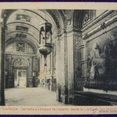 Postales: POSTAL DEL MONASTERIO DE GUADALUPE (CACERES). SACRISTIA Y LAMPARA DE LEPANTO. ED.THOMAS. AÑOS 20.. Lote 53046343