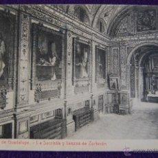 Postales: POSTAL DEL MONASTERIO DE GUADALUPE (CACERES). SACRISTIA Y LLENZOS DE ZURBARAN. ED.THOMAS. AÑOS 20.. Lote 53046366