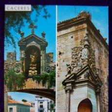 Postales: POSTAL DE CACERES. ARCO DE LA ESTRELLA Y BALCON DE LA CASA DE GODOY. AÑOS 60.. Lote 53046721