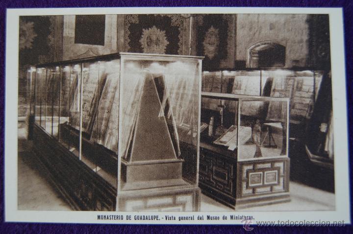 POSTAL DEL MONASTERIO DE GUADALUPE (CACERES). VISTA GENERAL DEL MUSEO DE MINIATURAS . AÑOS 40. (Postales - España - Extremadura Moderna (desde 1940))