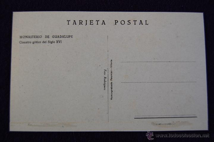 Postales: POSTAL DEL MONASTERIO DE GUADALUPE (CACERES). CLAUSTRO GOTICO . AÑOS 40. - Foto 2 - 53047850