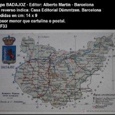 Postales: PCMAP - MAPA Y ESCUDO - BADAJOZ - EDIT. ALBERTO MARTÍN - BARCELONA - 14 CM X 9 CM - POSTAL. Lote 53272085
