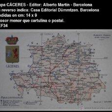 Postales: PCMAP - MAPA Y ESCUDO - CÁCERES - EDIT. ALBERTO MARTÍN - BARCELONA - 14 CM X 9 CM - POSTAL. Lote 53272106