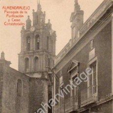 Postales: ALMENDRALEJO, BADAJOZ,PARROQUIA DE LA PURIFICACION Y CASAS CONSISTORIALES,.FOT.L.SAUS, VANDERMAN. Lote 53349589
