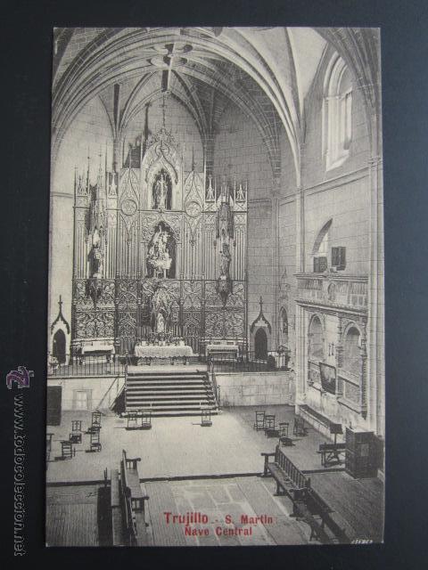 POSTAL CÁCERES. TRUJILLO. SAN MARTÍN. NAVE CENTRAL. A. DURÁN (Postales - España - Extremadura Antigua (hasta 1939))