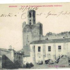 Postales: PS5978 BADAJOZ 'TORRE DE ESPANTAPERROS'. VIUDA DE CLARAMÓN. CIRCULADA. 1915. Lote 51648440