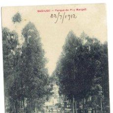 Postales: PS5728 BADAJOZ 'PARQUE DE PI Y MARGALL'. VIUDA DE CLARAMÓN. CIRCULADA EN 1912. Lote 48278662