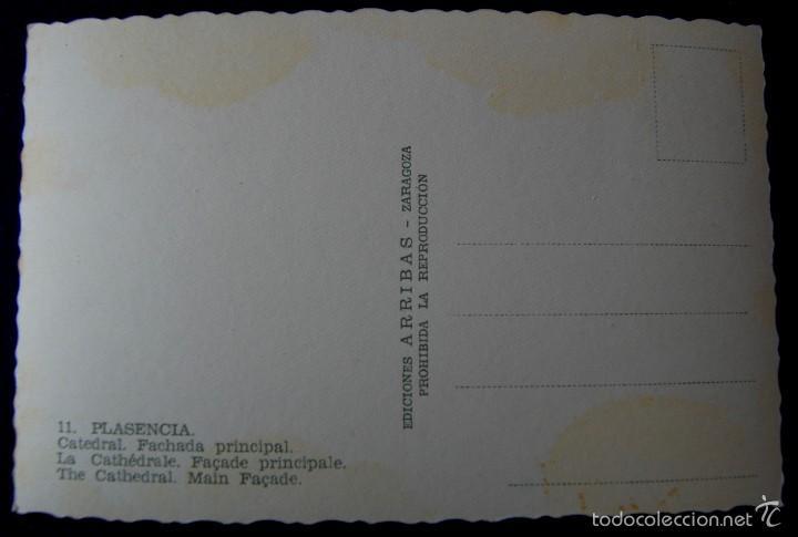 Postales: POSTAL DE PLASENCIA (CACERES). Nº11 CATEDRAL. FACHADA PRINCIPAL. EDIC ARRIBAS (ZARAGOZA). AÑOS 50. - Foto 2 - 55686292