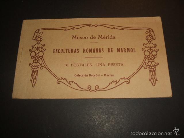 MERIDA BADAJOZ ESCULTURAS ROMANAS DE MARMOL CUADERNILLO 10 POSTALES COMPLETO (Postales - España - Extremadura Antigua (hasta 1939))