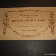 Postales: MERIDA BADAJOZ ESCULTURAS ROMANAS DE MARMOL CUADERNILLO 10 POSTALES COMPLETO. Lote 57193354