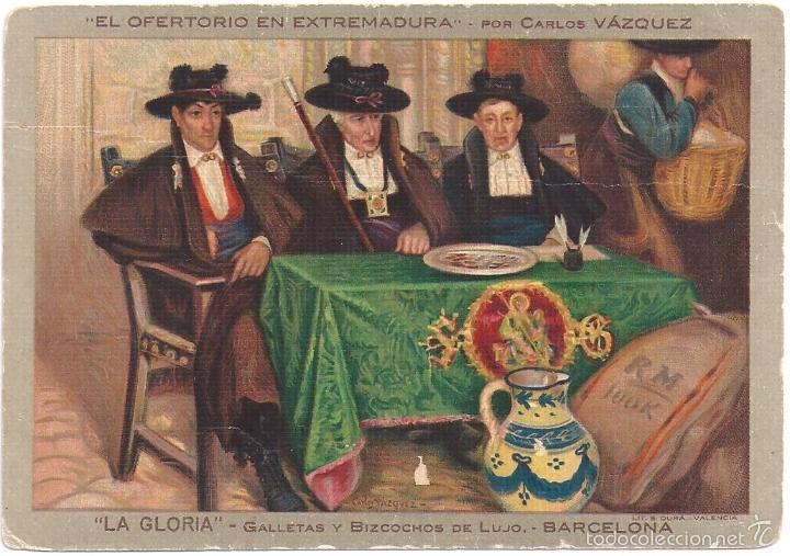 POSTAL ANTIGUA EL OFERTORIO DEL PINTOR CARLOS VAZQUEZ, PROPAGANDA DE CONFITERIA LA GLORIA (Postales - España - Extremadura Moderna (desde 1940))