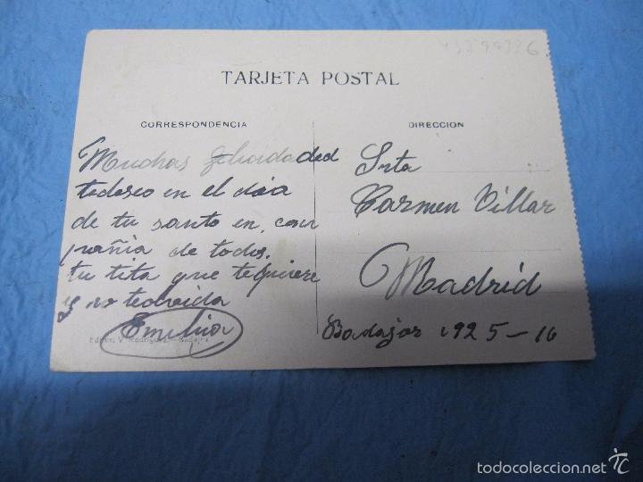 Postales: ANTIGUA POSTAL DE BADAJOZ AÑO 1925 PUERTA DE PALMAS - Foto 2 - 58562893