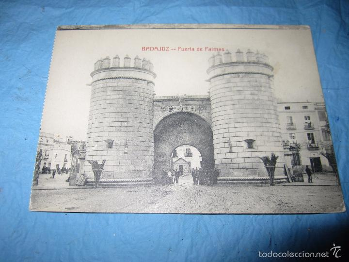 Postales: ANTIGUA POSTAL DE BADAJOZ AÑO 1925 PUERTA DE PALMAS - Foto 3 - 58562893