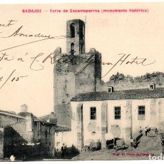 Postales: PS7070 BADAJOZ 'TORRE DE ESPANTAPERROS (MONUMENTO HISTÓRICO)'. VDA. CLARAMÓN. 1915. Lote 66833294