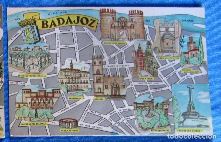 POSTAL PLANO MONUMENTAL Y OTROS DE BADAJOZ. FRESMO, 1964. (Postales - España - Extremadura Moderna (desde 1940))