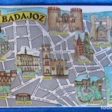 Postales: POSTAL PLANO MONUMENTAL Y OTROS DE BADAJOZ. FRESMO, 1964.. Lote 79117029