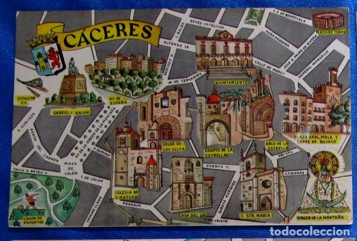 POSTAL PLANO MONUMENTAL Y OTROS DE CÁCERES. FRESMO, 1964. (Postales - España - Extremadura Moderna (desde 1940))