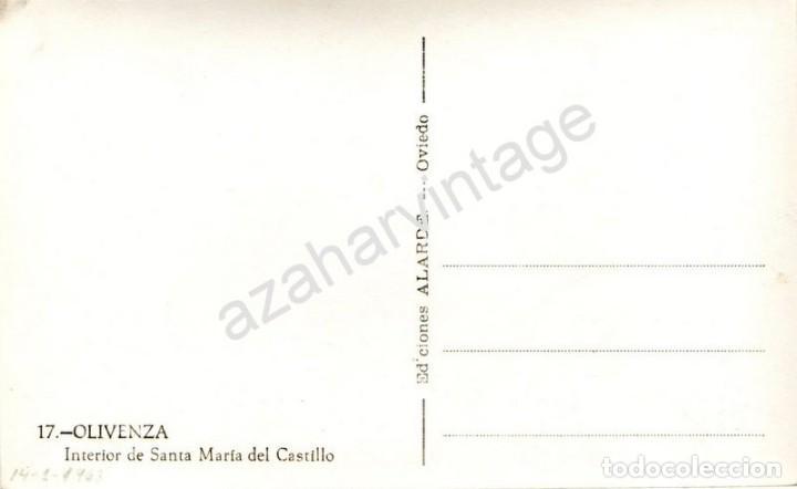 Postales: OLIVENZA, BADAJOZ, N. 17, INTERIOR DE SANTA MARIA DEL CASTILLO, ED. ALARDE - Foto 2 - 93271074