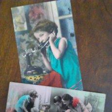 Postales: PAREJA DE POSTALES ROMÁNTICAS CON PUBLICIDAD LA LUZ, SAN JUAN. BADAJOZ.. Lote 95767359