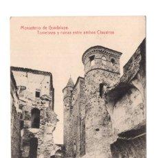 Postales: CACERES.- MONASTERIO DE GUADALUPE. TORREONES Y RUINAS ENTRE AMBOS CLAUSTROS. FOTOTIPIA THOMAS.. Lote 107977291