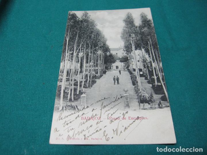 ANTIGUA POSTAL BADAJOZ PASEO DE LOS EUCALIPTUS Nº 5 CLARAMON Y CIA (Postales - España - Extremadura Antigua (hasta 1939))