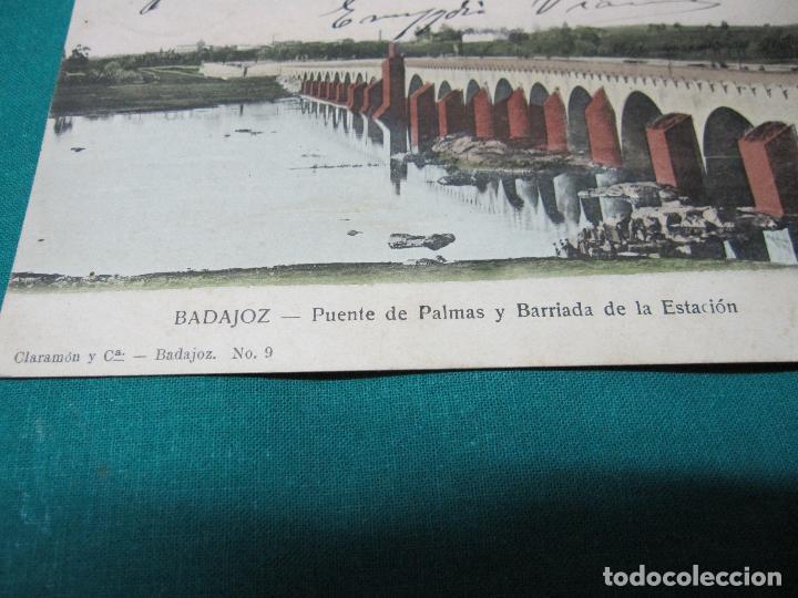 Postales: ANTIGUA POSTAL BADAJOZ PUENTE DE PALMAS Y BARRIADA ESTACION Nº 9 ESCRITA - Foto 2 - 127771587