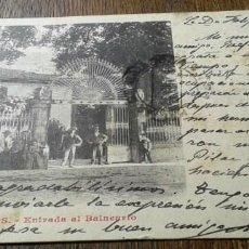 Postales: POSTAL ANTIGUA BAÑOS DE MONTEMAYOR. CÁCERES. ENTRADA AL BALNEARIO. NÚMERO 9. DORSO SIN DIVIDIR. . Lote 137240054