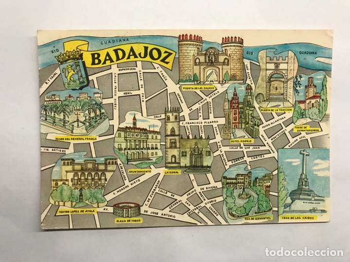 BADAJOZ. POSTAL PLANO DE LA CIUDAD. EDITA: EDICIONES FRESMO (A.1964) (Postales - España - Extremadura Moderna (desde 1940))