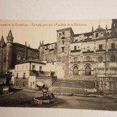 Postales: FACHADA PRINCIPAL Y PABELLON BIBLIOTECA MONASTERIO GUADALUPE, CACERES. Lote 147774026