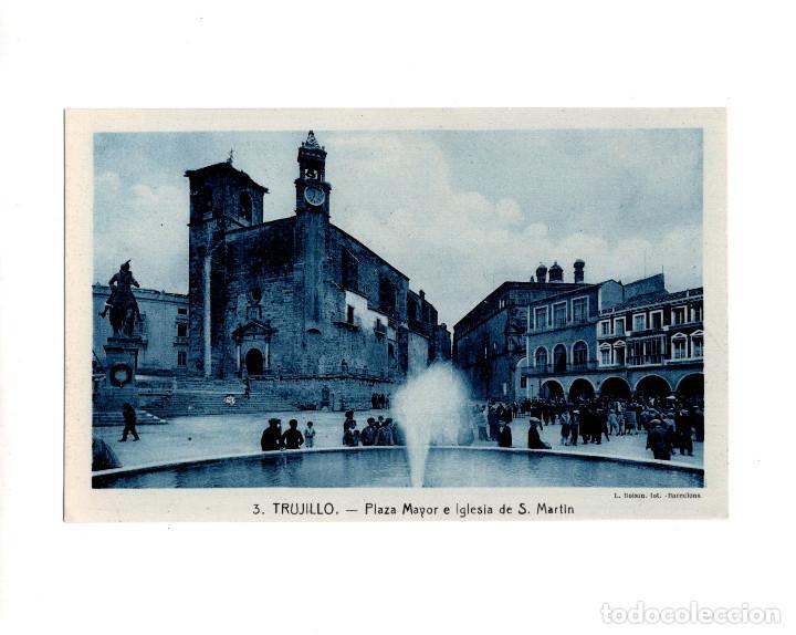 TRUJILLO.(CÁCERES).- PLAZA MAYOR E IGLESIA (Postales - España - Extremadura Antigua (hasta 1939))