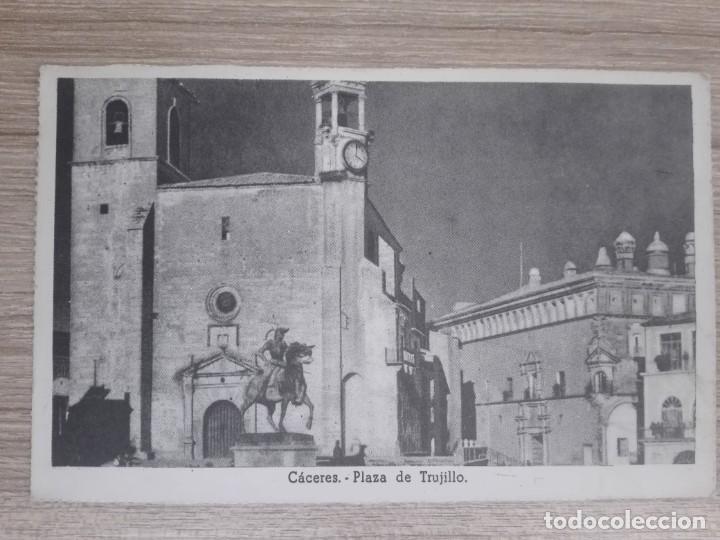 POSTAL CACERES-PLAZA DE TRUJILLO ED. VICESECRETARIA DE EDUCACION POPULAR-MENSAJE FRANCO (Postales - España - Extremadura Moderna (desde 1940))
