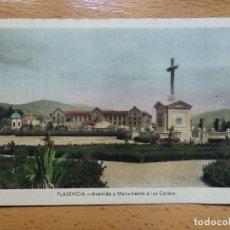 Postales: PLASENCIA. CACERS. AVENIDA Y MONUMENTO A LOS CAÍDOS. ED. CERVANTES Nº4.. Lote 153568404
