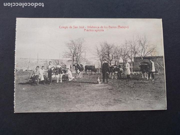 VILLAFRANCA DE LOS BARROS BADAJOZ COLEGIO DE SAN JOSE PRACTICA AGRICOLA FOTO L SAUS VANDERMAN MADRID (Postales - España - Extremadura Antigua (hasta 1939))