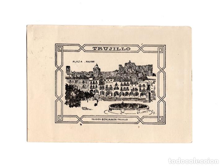TRUJILLO.(CÁCERES).- PLAZA MAYOR.- TEJIDOS BENJAMIN. (Postales - España - Extremadura Antigua (hasta 1939))