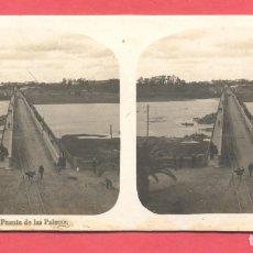 Postales: VISTAS ESTEREOSCOPICAS DE ESPAÑA, BADAJOZ- Nº 2,PUENTE DE LAS PALMAS, VER FOTOS. Lote 175863787