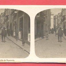Postales: VISTAS ESTEREOSCOPICAS DE ESPAÑA, BADAJOZ- Nº 5 CALLE DE ZAPATERÍA, VER FOTOS. Lote 175864264