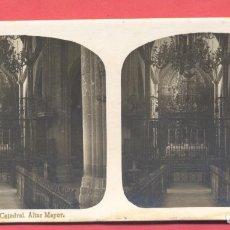 Postales: VISTAS ESTEREOSCOPICAS DE ESPAÑA, BADAJOZ- Nº 10 CATEDRAL ALTAR MAYOR, VER FOTOS. Lote 175865045