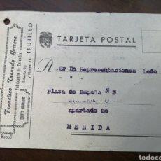 Postais: TRUJILLO. ENCURTIDOS FRANCISCO TRENADO. POSTAL A MERIDA, 1949. Lote 177702482
