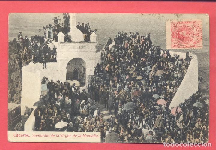CACERES SANTUARIO DE LA VIRGEN DE LA MONTAÑA, CIRCULADA 1912, PAPELERIA ALCOYANA, VER FOTOS (Postales - España - Extremadura Antigua (hasta 1939))