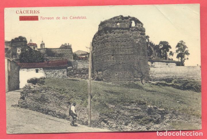 CACERES TORREON DE LAS CANDELAS, CIRCULADA 1910, PAPELERIA ALCOYANA, VER FOTOS (Postales - España - Extremadura Antigua (hasta 1939))